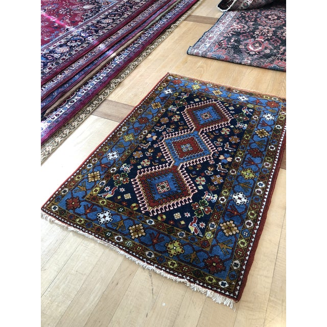 "1950s Vintage Hand-Knotted Wool Tribal Afshar Rug-3'6""x5'1"" For Sale - Image 10 of 13"
