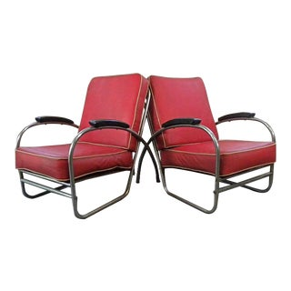 Vintage Mid Century Deco Lounge Chairs- A Pair For Sale