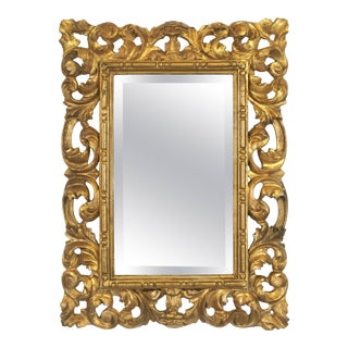 Rococo Beveled Mirror with Carved Giltwood Frame (H 22 1/2 x W 16 1/2) For Sale