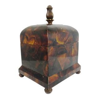 Vintage English Regency Style Faux Tortoiseshell Tea Caddy With Felt Interior For Sale