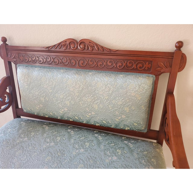 Early 20th Century Antique Eastlake Blue Settee For Sale - Image 5 of 11