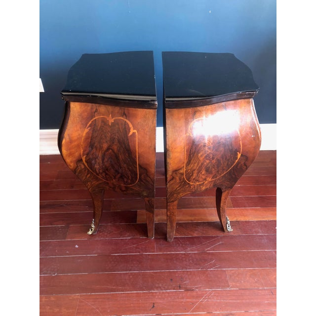 1930s Circa 1930's Louis XV Style Bombe Nightstands With Inlay Marquetry and Ormolu Ornamentation- Pair For Sale - Image 5 of 12