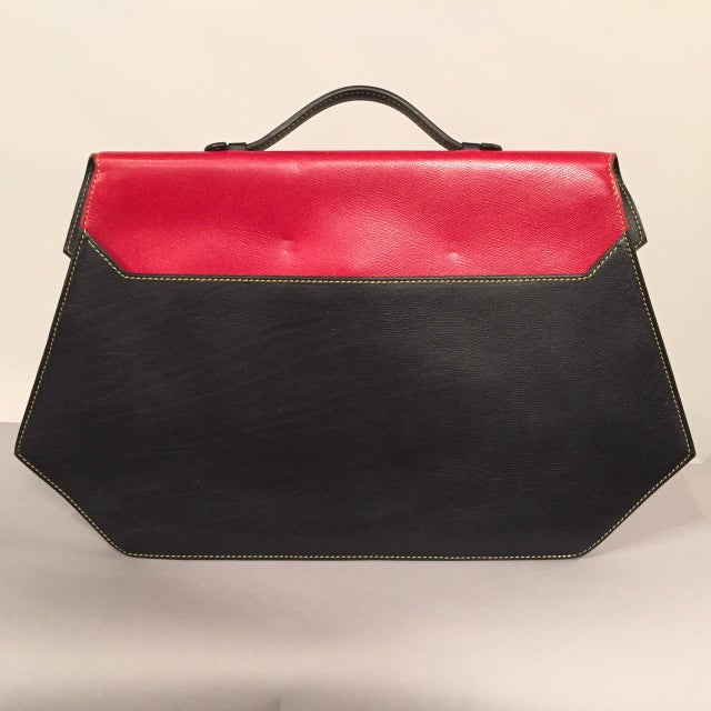 e8101b47249 Isabel Canovas Red and Black Leather Handbag, Laptop Case or Briefcase For  Sale - Image