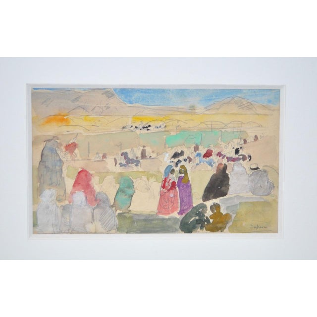 Charles-George Dufresne (French, 1876-1938) Original Watercolor w/ Figures c.1920s Fine watercolor by listed artist...