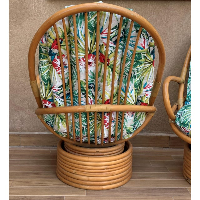 Wood Italian Mid-Century Modern Bamboo Set of Lounge Patio With Settee and Rocking For Sale - Image 7 of 11