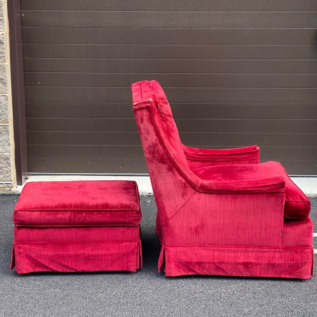 Red J.b. Van Sciver Distressed Velvet Chair & Ottoman For Sale - Image 8 of 13