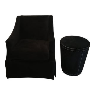 Black Slope Arm Chair & Ottoman For Sale