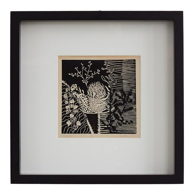 Black and White Botanical Woodcut Print For Sale