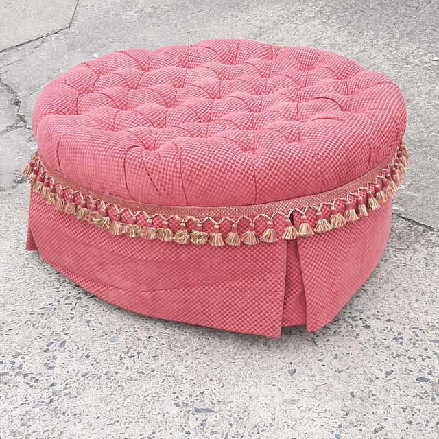 1990s Round Tufted Upholstered Fabric Skirted Ottoman For Sale - Image 4 of 8