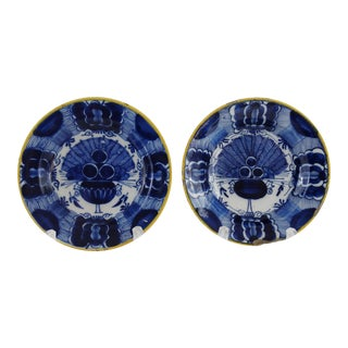 18th C. Delft 'Peacock' Plates - A Pair