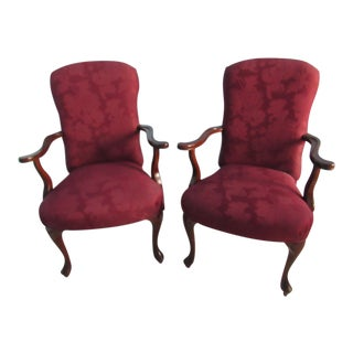 1990s Vintage Fairfield Cherry Wood Arm Chairs-a Pair For Sale