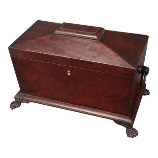 Antique 18th Century Georgian Mahogany Tea Caddy For Sale