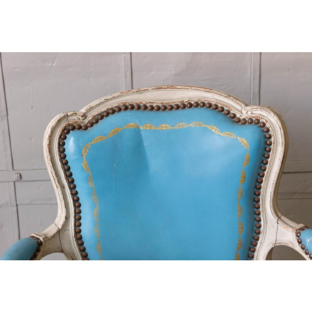 1960s 1960s Louis XV Style Blue Leather Armchairs - Set of 4 For Sale - Image 5 of 12