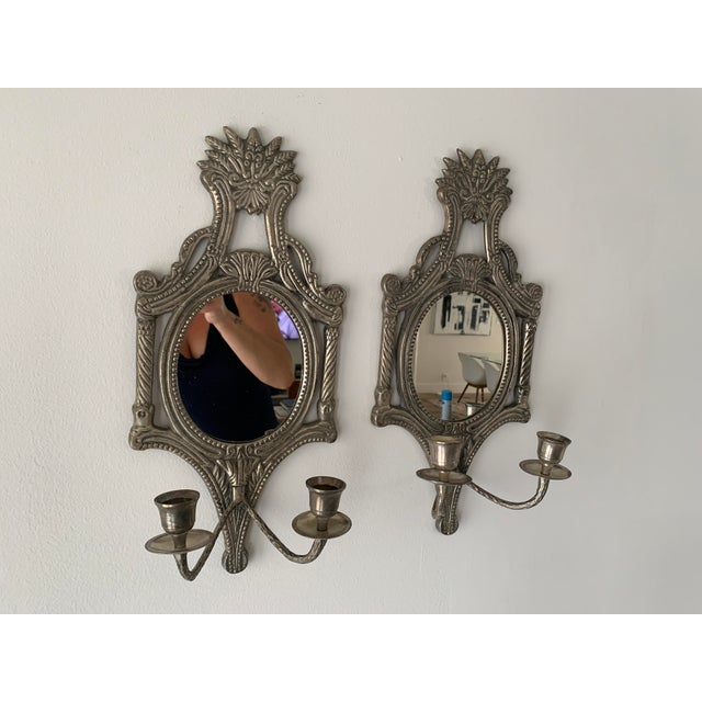 Great looking pair of pewter finish candle wall sconces with leafy, floral design. Mirrors have been replaced with new....