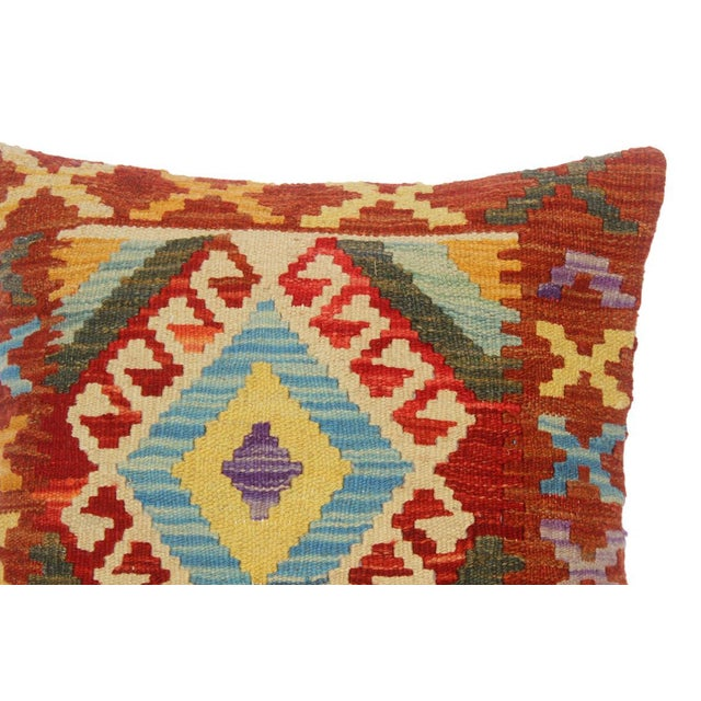 "Asian Chet Red/Lt. Blue Hand-Woven Kilim Throw Pillow(18""x18"") For Sale - Image 3 of 6"