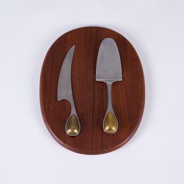 Metal Vintage Vivianna Torun Bulow-Hube for Dansk Cheese Knife, Cake Server, and Teak Cutting Board For Sale - Image 7 of 7