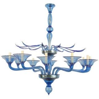 1940s Style Italian Venetian Murano Modern Blue Glass Chandelier