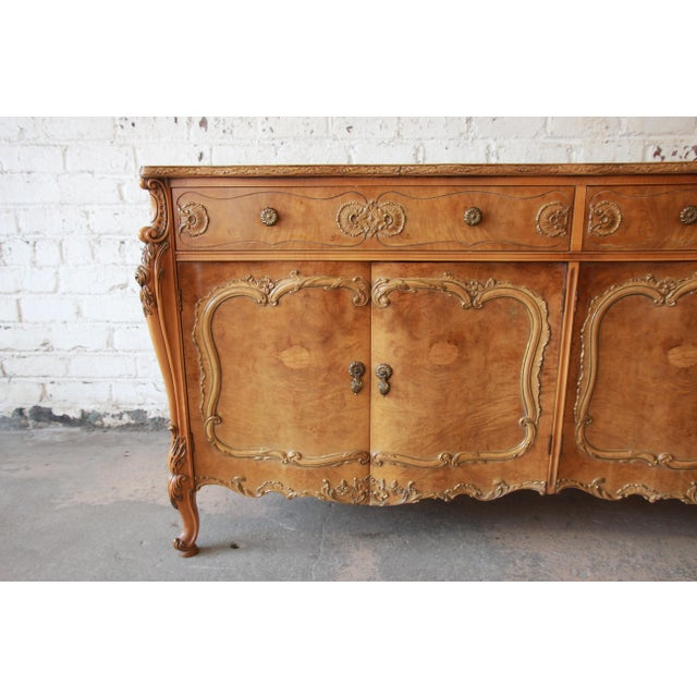Romweber Ornate Burl Wood French Carved Sideboard Credenza For Sale - Image 11 of 12
