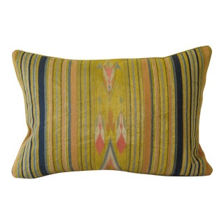 Vintage Metalic Ikat Pillow For Sale