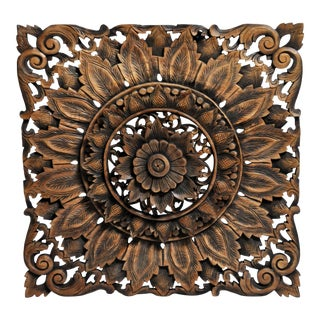 Southeast Asian Square Carved Flower Panel For Sale