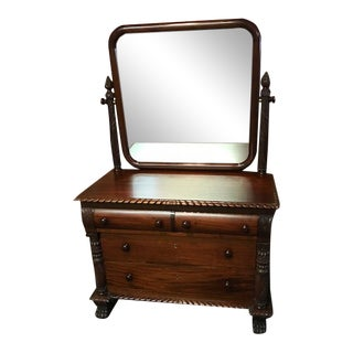 Late 19th Century Antique American Mahogany Empire Dresser With Mirror For Sale
