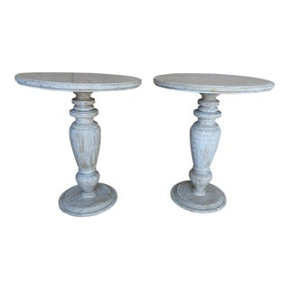Painted Wood Turned Side Tables - A Pair