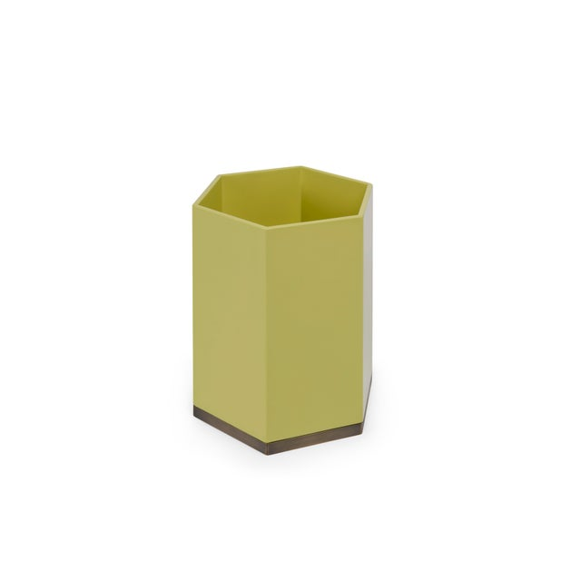 The Lacquer Company Hexagonal Bin in Mustard Yellow - Veere Grenney for The Lacquer Company For Sale - Image 4 of 4
