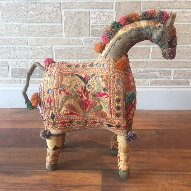 Vintage Rajasthan Hand Embroidered Indian Horse For Sale - Image 11 of 11