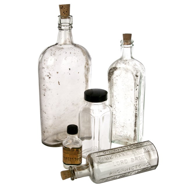 Vintage Clear Apothecary Bottles - Five - Image 1 of 2