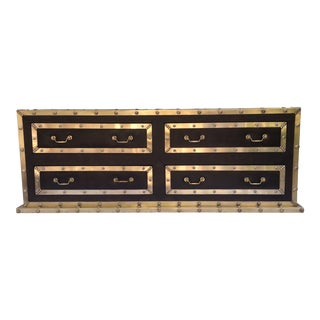 Sarreid Brass Clad Leather Chest For Sale