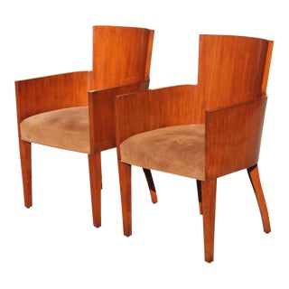 Modern Ralph Lauren Art Deco Mahogany Armchairs- A Pair For Sale