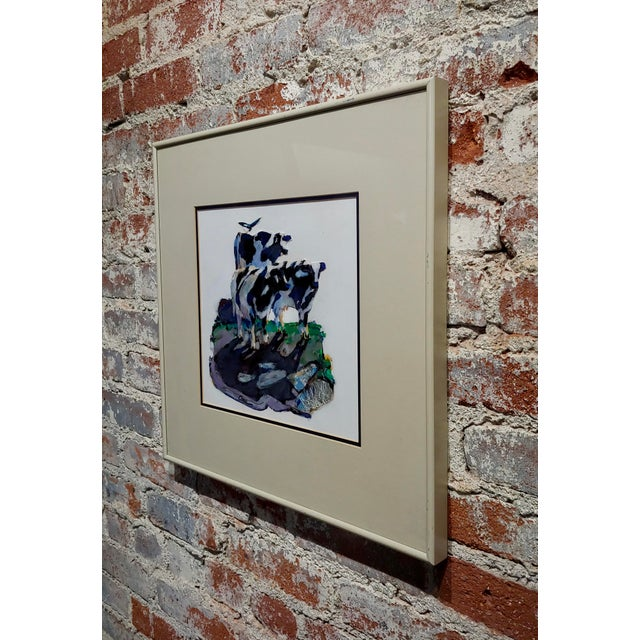 Black Marianne Cone - Black & White 3 Cows & a Magpie Bird-Painting For Sale - Image 8 of 9