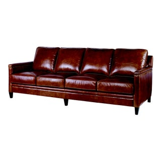Century Furniture Ruskin Large Sofa, Russett Leather For Sale