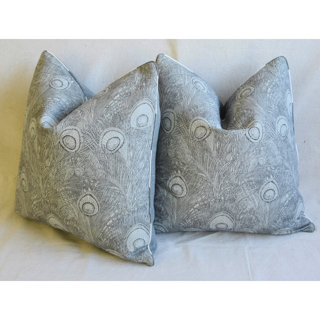 "Peacock Feather Linen Feather/Down Pillows 21"" Square - Pair For Sale - Image 9 of 13"