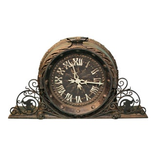 20th Century Art Deco Large Metal Clock For Sale