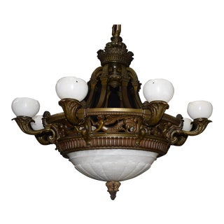 Antique chandelier, alabaster For Sale