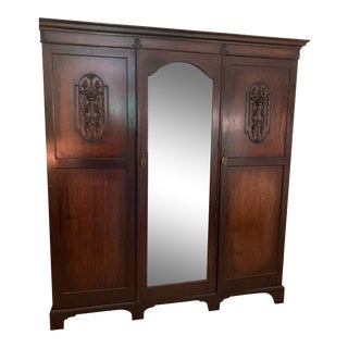 1895 Antique 4 Section Armoire For Sale