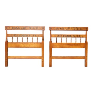 Vintage Pair Hitchcock Stenciled Maple Twin Bed Headboards For Sale