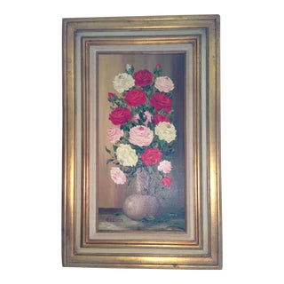 Mid-Century Roses in Brass Vase Still Life Painting