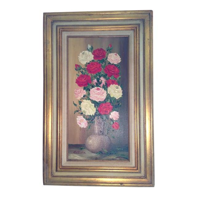 Mid-Century Roses in Brass Vase Still Life Painting - Image 1 of 11