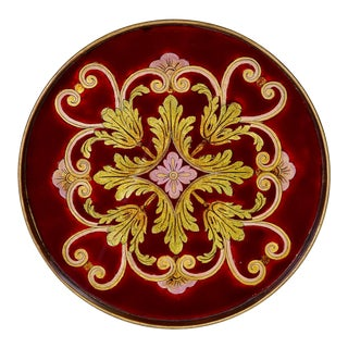 Verre Eglomise Hand Painted Serving Tray For Sale