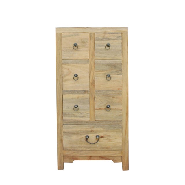 Chinese Raw Wood 7 Drawers Side Table Cabine For Sale