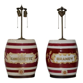 19th Century Glazed Ceramic Barrel Dispenser Lamps - a Pair