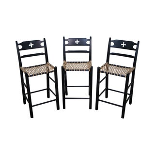 Black Painted & Woven Rawhide Seat Bar Stools - Set of 3 For Sale