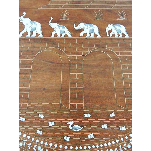 Vintage Inlayed Indian 'Elephant Caravan' Teak Wood & Ebony Round Coffee / Side Table For Sale - Image 4 of 8