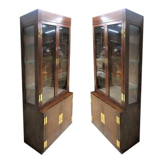 Henredon Scene One Campaign Lighted Curio Cabinets - a Pair For Sale