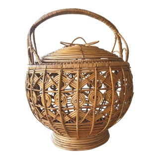 Vintage Rattan Woven Lantern Basket With Removable Lid For Sale