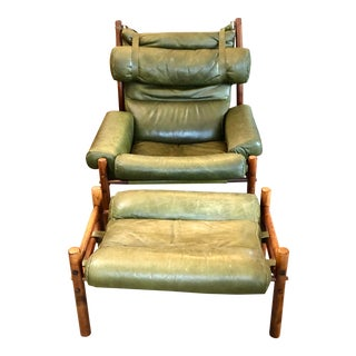 1960s Arne Norel Mid Century Inca Leather Lounge Chair With Ottoman For Sale