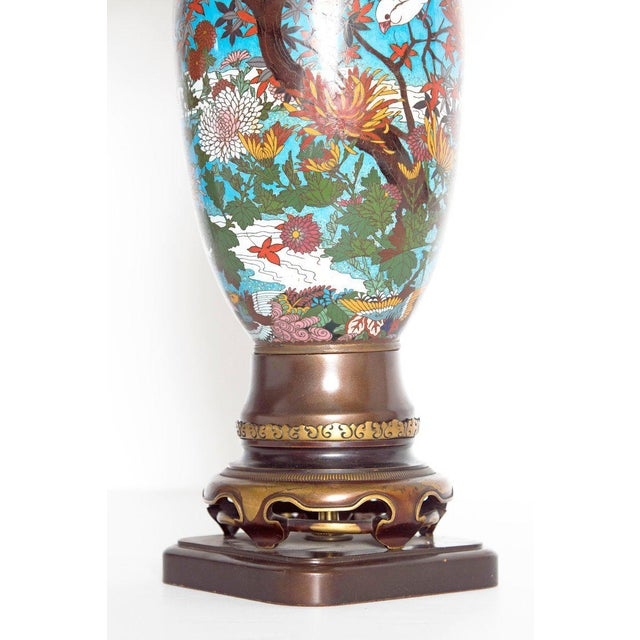 Late 19th Century Japanese Meiji Cloisonne Vase as Custom Lamp For Sale In Dallas - Image 6 of 13