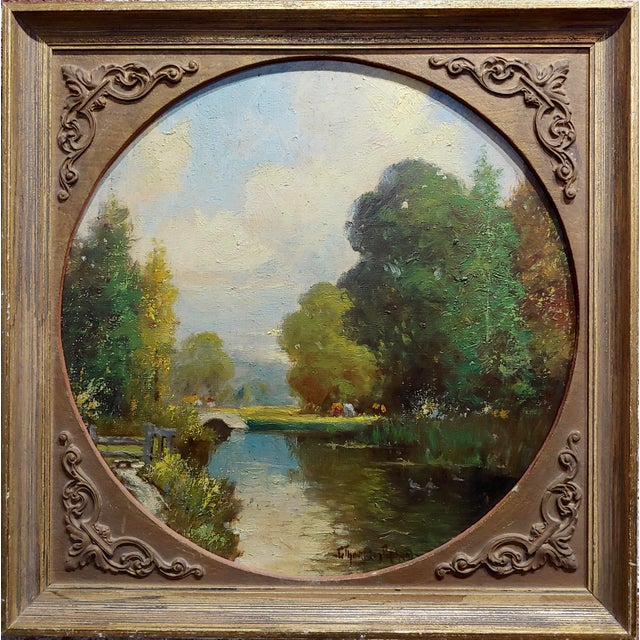 George Thompson Pritchard -Bridge over a Pond -Impressionist Oil panting c1920s oil painting on canvas board - Signed...